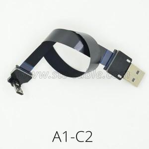 Flat Slim Thin Ribbon FPC Micro USB 90 degree cable