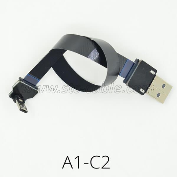FPV Flat Slim Thin Ribbon FPC Micro USB 90 degree cables