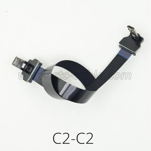 FPV Flat Slim Thin Ribbon FPC Up 90 degree Micro USB cable