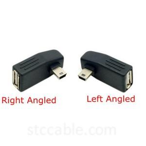 мини USB B 5Pin Мард ба Зан USB2.0 A Чап ё кунҷи рост адаптер OTG Мизбон