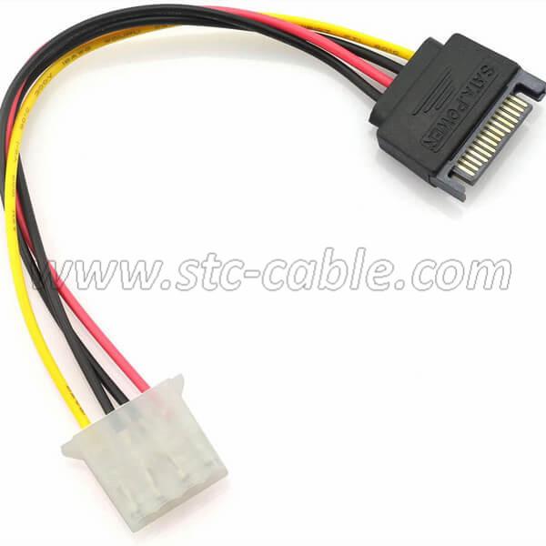 SATA 15 Pin Male to Molex LP4 Female Power Cables