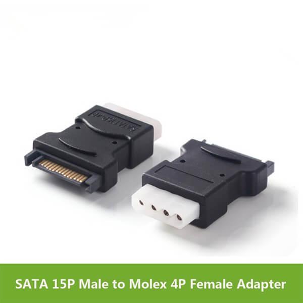 SATA 15P Male to Molex 4P Female Adapter Black