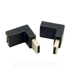 Up & поён Angled 90 Дараҷа USB 2.0 Мард ба Зан Дароз адаптер