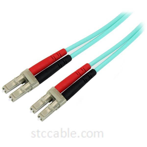Aqua OM4 Duplex Multimode Fiber Optic Cable – 100 Gb – 50/125 – LSZH – LC/LC – 1 m